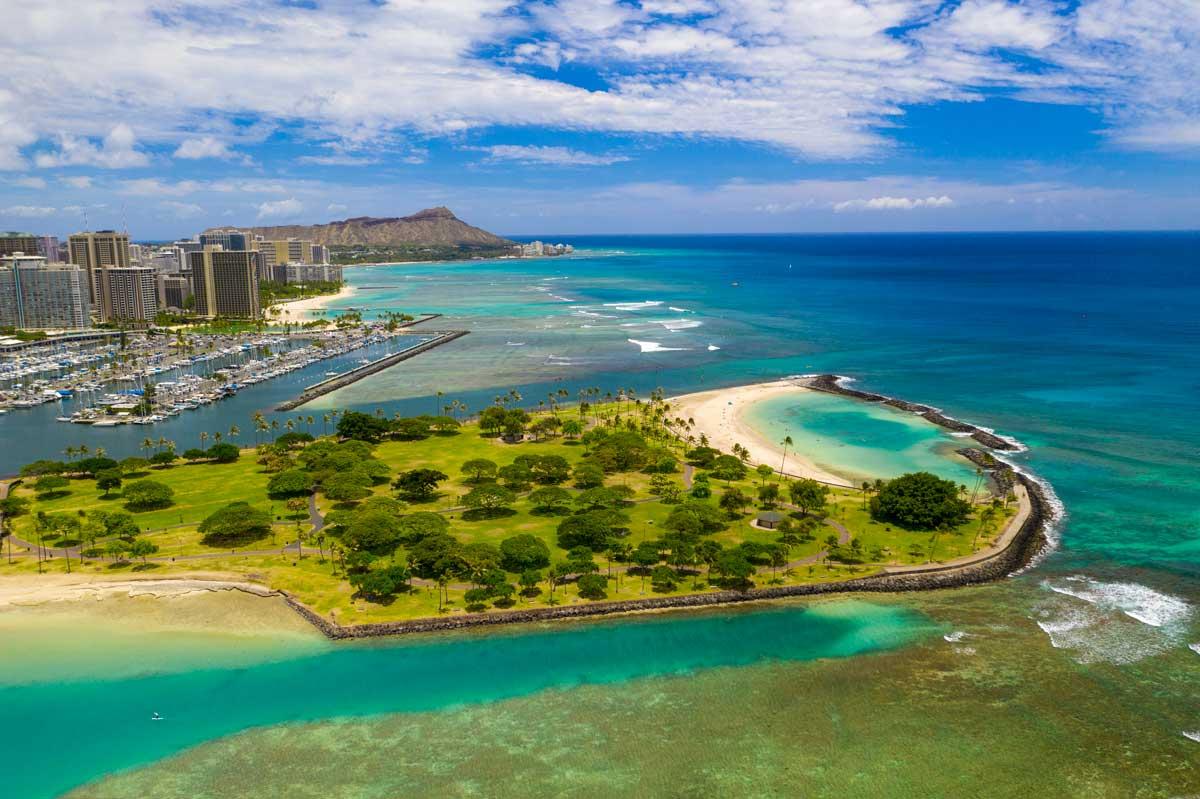 Waikiki drone photograph