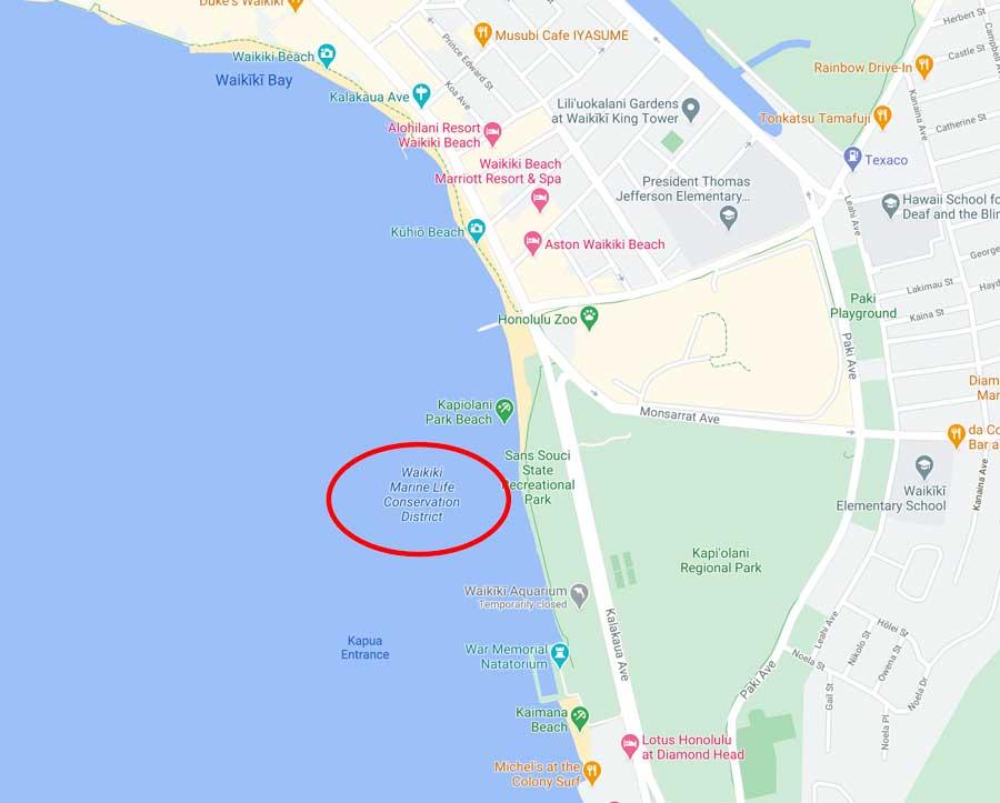 Waikiki Marine Live Conservation Snorkeling Map